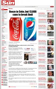 the sun pepsi coca cola alcohol news