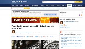yahoo news pepsi coca cola found alcohol